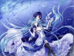 blue_hair breasts cantarella_(vocaloid) cleavage covering_eyes dress elbow_gloves flower fujie gloves hair_flower hair_ornament hair_ribbon hatsune_miku holding_hands kaito long_hair ribbon rose thighhighs twintails very_long_hair vocaloid white_dress zettai_ryouiki
