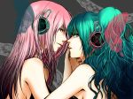 aqua_eyes aqua_hair blue_eyes butterfly_wings hatsune_miku headphones long_hair magnet_(vocaloid) makoto_(artist) makoto_(maternalism) megurine_luka multiple_girls pink_hair vocaloid wings yuri