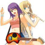 guitar kaleido_star layla_hamilton long_hair midriff naegino_sora recorder short_hair shorts skirt