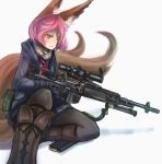 1girl animal_ears arceonn battle_rifle belt_pouch black_gloves black_legwear boots colored fox_ears fox_tail gloves gun highres jacket knee_boots m14 magazine_(weapon) multiple_tails necktie nia_(arceonn) one_knee original pantyhose pink_hair pleated_skirt rifle scarf school_uniform scope serafuku short_hair skirt solo tail weapon yellow_eyes
