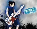 black_hair guitar naruto short_hair solo uchiha_sasuke