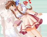antenna_hair brown_eyes brown_hair clannad furukawa_sanae heart hiiragi_tomoka ribbon waitress wink