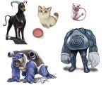 animal_ears blastoise bowl cat cat_ears coin composite houndoom looking_up meowth mew nintendo pekateu pokemon poliwrath realistic