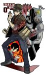 2boys alessa_gillespie artist_request belt black_hair blood butcher checkered child cleaver dual_persona fist food hat helmet house lowres male manly meat nails ponytail pyramid school_uniform shadow shoes silent_hill_0 sleeves_rolled_up smokestack source_request travis_o'_grady vest