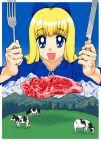 blonde_hair blue_eyes bow cow field fork hair_bow ietan knife man_hands mountain steak