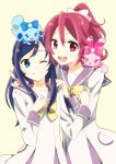 2girls aida_mana blue_eyes blue_hair dokidoki!_precure hands_on_shoulders hishikawa_rikka index_finger_raised long_hair multiple_girls pink_eyes pink_hair precure raquel_(dokidoki!_precure) school_uniform sharuru_(dokidoki!_precure) short_hair simple_background smile wink yuu_(1197159)