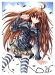 blush brown_eyes brown_hair earbuds earphones emperpep long_hair skirt solo striped striped_legwear thigh-highs thighhighs traditional_media watercolor_(medium) zettai_ryouiki