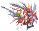 1girl ammunition_belt claws drachenriese gun hair_over_breasts horns kyanoeides_granatis miscellaneous_oxymoron monster_girl original red_eyes redhead sword touhou weapon wink