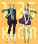 bespectacled blonde_hair brother_and_sister glasses hat kagamine_len kagamine_rin kneehighs necktie orange_eyes pinstripe_pattern polka_dot scarf siblings socks thigh-highs thighhighs twins vest vocaloid yoshito