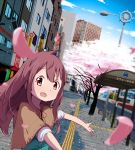 1girl building capelet cherry_blossoms cityscape keshigomukun long_hair open_mouth original pink_eyes pink_hair solo