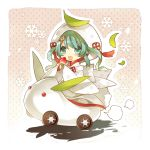 1girl chibi food fruit green_eyes green_hair hair_ornament hatsune_miku japanese_clothes kimono leaf open_mouth riding snow_bunny snowflakes solo starpri strawberry uchikake vocaloid yuki_miku