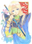 1girl 90s agahari armor blonde_hair blue_eyes breastplate cape circlet deedlit elf fantasy long_hair pointy_ears rapier record_of_lodoss_war smile solo sword weapon