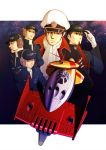 5boys anchor antennae beard cannon coat facial_hair gloves hat headgear highres jumpsuit kodai_mamoru logo looking_at_viewer military military_uniform multiple_boys mustache nicoa7 officer scarf science_fiction space space_craft star_(sky) turret uchuu_senkan_yamato uchuu_senkan_yamato_2199 uniform yukikaze_(spaceship)