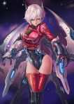 1girl aqua_eyes breasts clothed_navel dantewontdie gauntlets lips red_legwear short_hair silver_hair solo thigh-highs thigh_gap wide_hips wings
