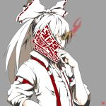 1girl denzel_3318 fujiwara_no_mokou glowing glowing_eye grey_background hair_ribbon highres holding jpeg_artifacts ofuda one-eyed ponytail ribbon solo touhou