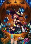 1girl absurdres bare_shoulders butterfly candle candy cat elbow_gloves gloves halloween hat highres jack-o'-lantern long_hair mouse open_mouth original pink_hair pumpkin silvester solo stretch thigh-highs wink witch witch_hat