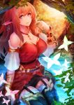 1girl bare_shoulders breasts butterfly elf highres jewelry long_hair looking_at_viewer necklace original pink_eyes pointy_ears redhead solo yaoya_musuko
