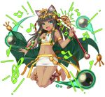 1girl animal_ears ankle_lace-up anklet barefoot bastet_(p&d) brown_hair cat_ears cat_tail cross-laced_footwear crown dark_skin egyptian fang green_eyes instrument jewelry komoriuta midriff open_mouth puzzle_&_dragons tail