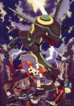 1boy 1girl bandana bicycle brown_eyes brown_hair headband lightning magnemite minun odamaki_sapphire official_art plusle pokemon pokemon_(game) pokemon_rse pokemon_special rayquaza ruby_(pokemon) running_away skarmory sugimori_ken