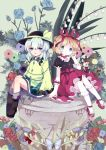 2girls bellflower blonde_hair blue_eyes blue_rose bow fairy_wings flower grey_eyes hair_ribbon hat hat_bow komeiji_koishi long_sleeves medicine_melancholy multiple_girls nekokyu puffy_sleeves ribbon rose shirt short_hair silver_hair sitting skirt su-san third_eye touhou wide_sleeves wings