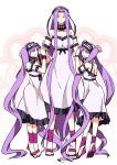 3girls dress euryale fate/hollow_ataraxia fate_(series) headdress height_difference multiple_girls purple_hair rider sandals sexy44 siblings sisters stheno twintails violet_eyes white_dress