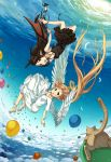 2girls angel angel_and_devil angel_wings balloon barefoot black_hair blonde_hair cat demon demon_girl demon_wings devil dress flying green_eyes happy high_heels highres horns kimura_(ykimu) long_hair multiple_girls original red_eyes sandals shoes sky wings