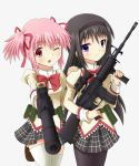2girls akemi_homura assault_rifle black_hair bow gun h&k_mp7 hair_ribbon hairband hand_on_shoulder kaname_madoka long_hair mahou_shoujo_madoka_magica multiple_girls open_mouth pantyhose pink_eyes pink_hair ribbon rifle school_uniform scope short_hair skirt smile submachine_gun suppressor thigh-highs violet_eyes weapon white_legwear wink yoshitani_(aminosan)