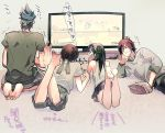 1girl 3boys ^_^ bare_legs black_hair brown_hair closed_eyes contemporary controller eating from_behind game_controller guan_ping guan_suo guan_xing guan_yinping hachimaki hair_ornament headband heikkisosa long_hair multiple_boys shin_sangoku_musou shin_sangoku_musou_7 shorts siblings skirt tank_top television translation_request