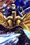 earth flying_saucer godzilla godzilla_(series) king_ghidorah rocket rodan space space_craft star_(sky) yuya