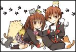1boy 1girl animal_on_head brother_and_sister brown_hair cat cat_on_head doruji little_busters! long_hair natsume_kyousuke natsume_rin paw_print ponytail red_eyes school_uniform short_hair siblings too_many_cats yui_(ntm-21)
