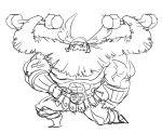 1boy abs beard dragon's_crown dumbbell dwarf_(dragon's_crown) exercise facial_hair faulds helmet long_hair matsu-sensei muscle one_knee prehensile_hair shirtless sketch solo weights