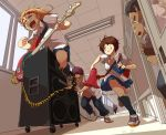 bass_guitar blonde_hair brown_eyes brown_hair grin hallway instrument kneehighs megaphone original redhead running short_hair skirt sliding_doors smile speaker taichi_(tomo) window wire