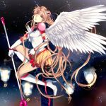 1girl bishoujo_senshi_sailor_moon blonde_hair blue_eyes boots crescent elbow_gloves eternal_sailor_moon eternal_tiare facial_mark forehead_mark gloves hair_bun hair_ornament hairpin jun_(anna19791220) long_hair magical_girl puffy_sleeves sailor_moon skirt smile solo staff tsukino_usagi twintails white_gloves wings
