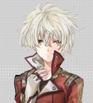 1boy atelier_(series) atelier_escha_and_logy fingerless_gloves gloves grey_background jacket logix_ficsario male polka_dot polka_dot_background shuu_(shu-nm) smile solo white_hair yellow_eyes