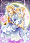 1girl blonde_hair blue_eyes boots crescent crescent_moon crown curly_hair dress facial_mark forehead_mark gloves head_wings heart jewelry long_hair moon necklace panel_de_pon ruitan_(rrruitan) seren smile solo sparkle staff white_dress