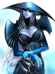 1girl absurdres armor blue_lipstick blue_skin braid breasts cleavage cleavage_cutout helmet helmet_over_eyes highres kumiko_(aleron) large_breasts league_of_legends lips lipstick lissandra long_hair makeup pauldrons single_braid solo very_long_hair white_hair