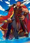 2boys adult armor beard black_hair book cape cigar facial_hair fate/zero fate_(series) highres long_coat long_hair lord_el-melloi_ii motsu_(kk_3) multiple_boys red_eyes redhead rider_(fate/zero) sky waver_velvet