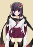 1girl blush horns inu_x_boku_ss long_hair looking_at_viewer nishitaka shirakiin_ririchiyo simple_background solo violet_eyes