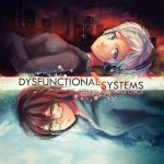 2girls akg album_cover blue_eyes brown_hair character_request cityscape cover doomfest dysfunctional_systems glasses green_eyes headphones multiple_girls semi-rimless_glasses short_hair under-rim_glasses white_hair winter_harrison