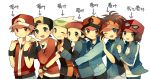 6+boys baseball_cap beret black_hair blue_eyes brown_eyes brown_hair gold_(pokemon) hat hug hug_from_behind kouki_(pokemon) kyouhei_(pokemon) male male_protagonist_(pokemon_xy) multiple_boys open_mouth pink_usagi pokemon pokemon_(game) pokemon_bw pokemon_dppt pokemon_gsc pokemon_hgss pokemon_rse red_(pokemon) red_(pokemon)_(remake) red_eyes smile touya_(pokemon) v visor wink yuuki_(pokemon)