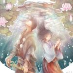 1boy 1girl black_hair fan flower japanese_clothes koto_(artr) long_hair lotus miko rdg_red_data_girl sagara_miyuki shakujo short_hair staff suzuhara_izumiko underwater