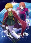 2girls audrey_burne belt blonde_hair blue_eyes cape dual_wielding earth full_armor_unicorn_gundam gacha-m gatling_gun gloves green_eyes gun gundam gundam_unicorn helmet long_hair marida_cruz mecha multiple_girls multishot_rocket_launcher orange_hair pantyhose pilot_suit planet ponytail rocket_launcher shield short_hair space unicorn_gundam uniform weapon white_gloves white_legwear