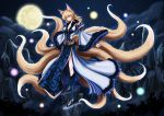 1girl alternate_costume animal_ears blonde_hair blue_dress blue_legwear breasts cleavage clouds collarbone dress fox_ears fox_tail high_heels kneehighs large_breasts lights long_hair long_sleeves looking_at_viewer multiple_tails night no_hat no_headwear outstretched_arms shoes sky skyspace solo tail touhou white_dress wide_sleeves yakumo_ran yellow_eyes