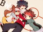 1girl 2boys black_hair blue_eyes blush brown_hair double_bun hue_(pokemon) kyouhei_(pokemon) mei_(pokemon) multiple_boys nicole_(usako) pantyhose poke_ball pokemon pokemon_(game) pokemon_bw2 red_eyes smile twintails visor_cap wink yellow_eyes