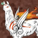 amaterasu highres issun llama no_humans ookami_(game) pomo_(vaniarossato) reflector shield tattoo