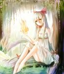 arm dress feet fire forest fujiwara_no_mokou hair_ribbon hands leg_lift long_hair nature red_eyes ribbon thighs touhou tree white_dress white_hair