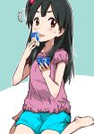 1girl barefoot black_hair brown_eyes casual food hair_bobbles hair_ornament ice_cream kitashirakawa_anko licking long_hair maabou side_ponytail sitting tamako_market wariza