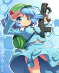 1girl assault_rifle backpack bag blue_eyes blue_hair breasts gun hair_bobbles hair_ornament hat kawashiro_nitori large_breasts long_sleeves looking_at_viewer midriff navel pocket rifle ruku_rx salute shirt skirt skirt_set smile solo touhou twintails upskirt weapon