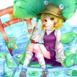 1girl blonde_hair feet_in_water flower frog hair_ornament hat leaf_umbrella lotus moriya_suwako rukito snake soaking_feet solo torii touhou water wide_sleeves yellow_eyes