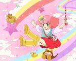 1girl 80s blush candy_cane green_eyes hairband highres jewelry mahou_no_princess_minky_momo mikiky minky_momo necklace oldschool pink_background pink_hair short_hair skirt smile socks solo wand